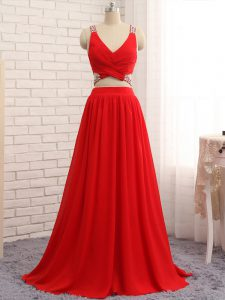 Red Sleeveless Brush Train Beading Evening Gowns