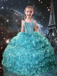 Trendy Teal Lace Up Straps Beading and Ruffles Little Girls Pageant Dress Wholesale Organza Sleeveless