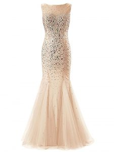 Delicate Champagne Zipper Scoop Beading Pageant Dress Womens Tulle Sleeveless