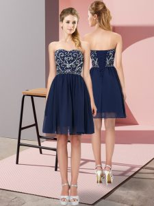 Attractive Mini Length Empire Sleeveless Navy Blue Pageant Dress Wholesale Lace Up