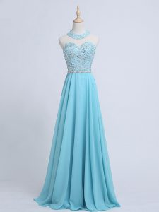Exquisite Aqua Blue Sleeveless Beading Zipper Pageant Dress
