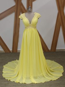 Yellow Short Sleeves Chiffon Brush Train Zipper Custom Made Pageant Dress for Prom and Military Ball and Sweet 16