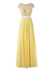 High Quality Yellow Sleeveless Lace and Appliques Floor Length Pageant Dress