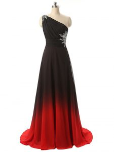 Admirable One Shoulder Sleeveless Winning Pageant Gowns Brush Train Beading and Ruching Multi-color Fading Color