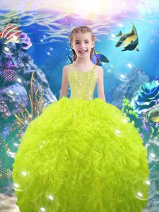 Floor Length Lace Up Pageant Dress for Teens for Quinceanera and Wedding Party with Beading and Ruffles