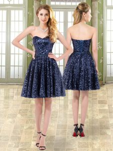 Navy Blue Sleeveless Tulle and Sequined Lace Up Pageant Dress for Teens for Prom and Party