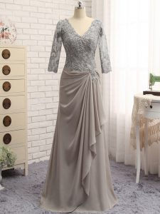 Hot Sale Grey Column/Sheath Lace and Appliques Pageant Gowns Zipper Chiffon Long Sleeves Floor Length