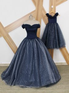 Ruching Pageant Dress for Girls Navy Blue Lace Up Sleeveless Brush Train