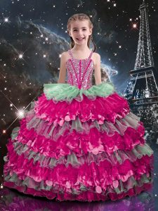 Sleeveless Organza Floor Length Lace Up Pageant Dress Womens in Multi-color with Beading and Ruffled Layers