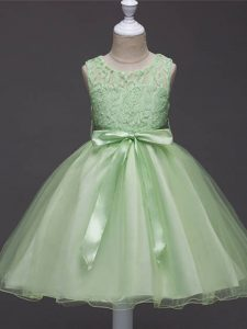 Sleeveless Organza Knee Length Zipper Little Girls Pageant Dress Wholesale in with Lace and Belt