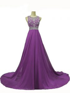 Edgy Chiffon Sleeveless Pageant Gowns Brush Train and Beading