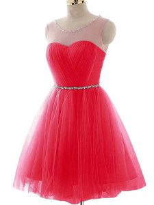 Luxurious Sleeveless Tulle Mini Length Lace Up Glitz Pageant Dress in Coral Red with Beading and Ruching