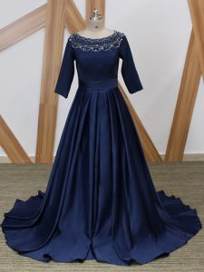 Popular 3 4 Length Sleeve Beading Zipper Pageant Dress Wholesale with Navy Blue Brush Train