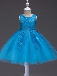 Classical Sleeveless Tulle Knee Length Zipper High School Pageant Dress in Teal with Appliques