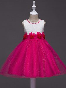 Hot Pink Little Girl Pageant Dress Wedding Party with Lace and Hand Made Flower Scoop Sleeveless Zipper