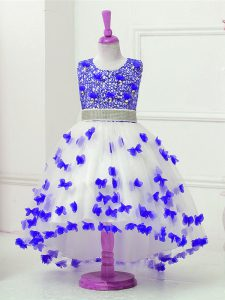 Low Price High Low Zipper Pageant Dress Womens Blue And White for Wedding Party with Appliques and Sequins