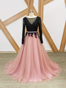 Pink And Black Tulle Zipper Scoop Long Sleeves Pageant Dress Womens Brush Train Lace and Appliques and Sashes ribbons