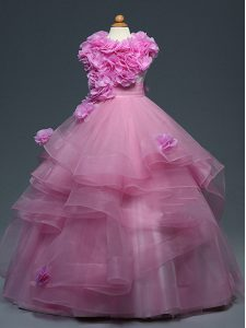 Latest Lilac High-neck Lace Up Ruffles and Hand Made Flower Pageant Dress Toddler Sleeveless