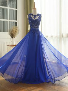 Ideal Chiffon Sleeveless Floor Length Pageant Dresses and Appliques