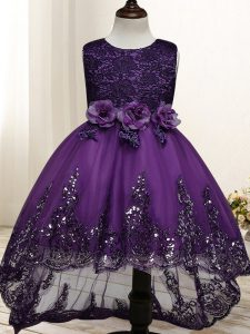 Dark Purple Zipper Scoop Lace and Appliques and Bowknot and Hand Made Flower Little Girls Pageant Dress Tulle Sleeveless