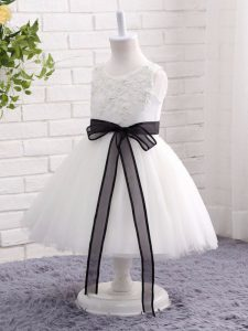 White Tulle Zipper Scoop Sleeveless Mini Length Pageant Dress for Womens Lace and Bowknot