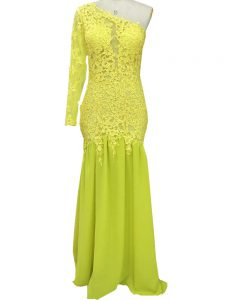 Yellow Side Zipper One Shoulder Lace and Appliques Evening Gowns Chiffon Long Sleeves Brush Train