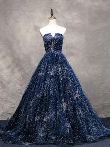 Elegant Navy Blue Winning Pageant Gowns Prom and Military Ball with Beading V-neck Sleeveless Brush Train Lace Up