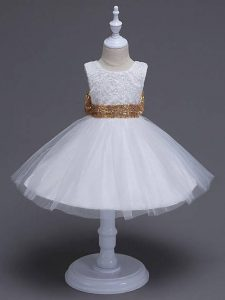 Scoop Sleeveless Kids Formal Wear Knee Length Lace and Bowknot White Tulle