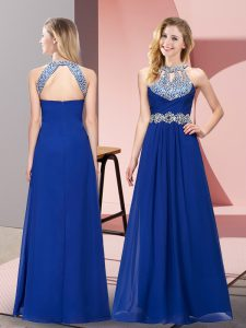 Floor Length Empire Sleeveless Blue Pageant Dress for Teens Zipper
