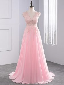 Sweet Baby Pink V-neck Side Zipper Appliques Pageant Dresses Brush Train Sleeveless