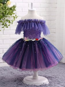 Purple Short Sleeves Knee Length Beading and Hand Made Flower Lace Up Little Girls Pageant Dress Wholesale