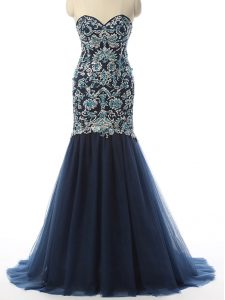 Flare Navy Blue Zipper Sweetheart Beading and Embroidery Glitz Pageant Dress Tulle Sleeveless