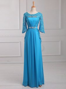 Amazing Floor Length Zipper Winning Pageant Gowns Baby Blue for Prom and Military Ball and Beach with Beading and Lace and Belt