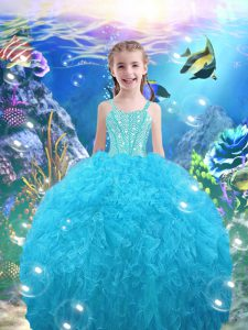 Popular Aqua Blue Ball Gowns Beading and Ruffles Evening Gowns Lace Up Organza Sleeveless Floor Length