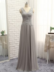 Chic Grey Column/Sheath Chiffon V-neck Sleeveless Lace and Appliques Floor Length Zipper Custom Made Pageant Dress