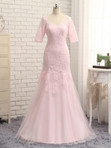 Customized Half Sleeves Zipper Floor Length Lace and Appliques Pageant Dress Toddler