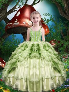 Popular Short Sleeves Organza Floor Length Lace Up Pageant Dress for Womens in Yellow Green with Beading and Ruffles and Ruffled Layers