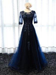 Tulle Scoop Half Sleeves Lace Up Lace and Appliques Glitz Pageant Dress in Navy Blue