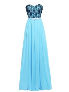 Chiffon Sweetheart Sleeveless Zipper Lace and Appliques Pageant Dresses in Aqua Blue