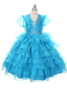 Dramatic Organza Halter Top Sleeveless Lace Up Beading and Ruffled Layers and Bowknot Pageant Dress for Teens in Baby Blue