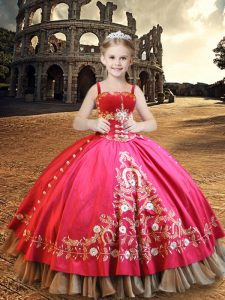 Hot Pink Ball Gowns Embroidery Little Girl Pageant Dress Lace Up Taffeta Sleeveless Floor Length