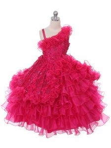 Floor Length Hot Pink High School Pageant Dress Organza Sleeveless Lace and Ruffles and Ruffled Layers