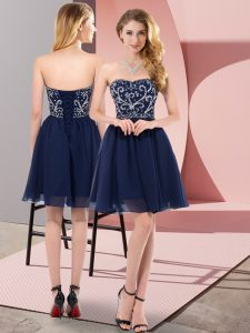 Wonderful Navy Blue Sleeveless Chiffon Lace Up Pageant Dress for Teens for Prom and Party and Sweet 16