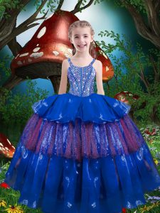 Trendy Blue Straps Neckline Beading and Ruffled Layers Kids Formal Wear Sleeveless Lace Up