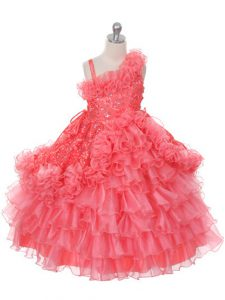 Excellent Watermelon Red Ball Gowns Asymmetric Sleeveless Organza Floor Length Lace Up Lace and Ruffles and Ruffled Layers Little Girls Pageant Dress Wholesale