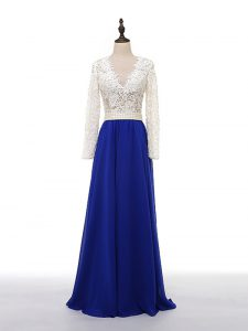 Hot Selling V-neck Long Sleeves Zipper Pageant Dresses Blue And White Chiffon