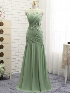Ruching and Hand Made Flower Pageant Dress for Teens Olive Green Zipper Sleeveless Brush Train