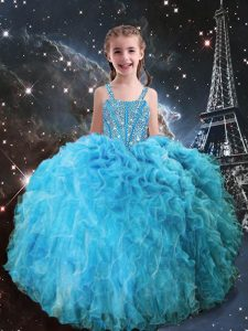 Aqua Blue Ball Gowns Beading and Ruffles Pageant Gowns Lace Up Organza Sleeveless Floor Length