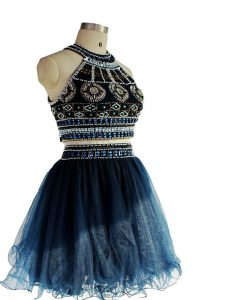 Perfect Navy Blue Pageant Dresses Prom and Party and Sweet 16 with Beading Halter Top Sleeveless Backless