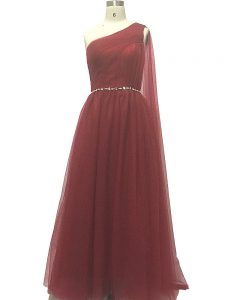 High End Burgundy Sleeveless Beading and Pleated Zipper Pageant Dress Womens